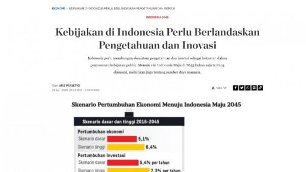 Kebijakan di Indonesia Perlu Berlandaskan Pengetahuan dan Inovasi