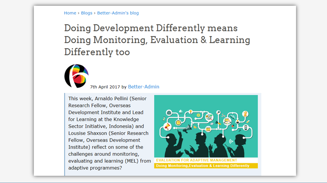 Doing Development Differently means Doing Monitoring & Learning Differently Too
