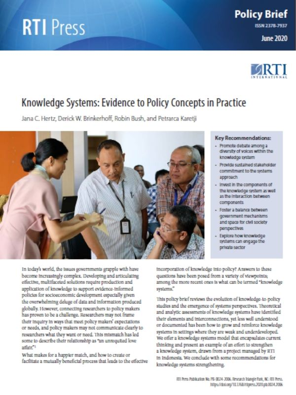 Knowledge Systems: Evidence to Policy Concepts in Practice